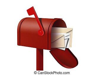 boîte, courrier, rouges, enveloppes