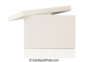 boîte, couvercle, blanc, vide
