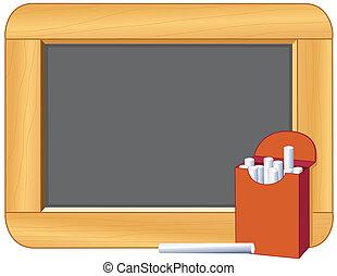 boîte, craie, cadre, bois, tableau noir