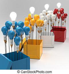 boîte, crayon, concept, lumière, idée, créatif, dehors,...