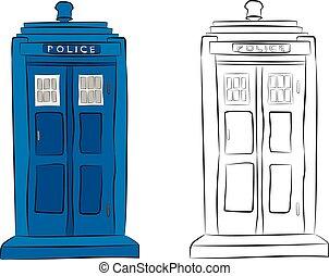 boîte, crayon, police, dessin, contour