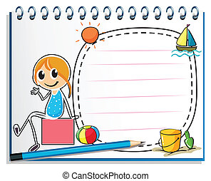 boîte, crayon, séance, image, illustration, cahier, fond,...