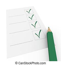 boîte, crayon, vert, chèque, 3d