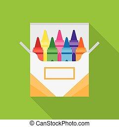 boîte, crayons, entiers, coloré, cire