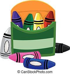 boîte, crayons, intérieur