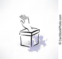 boîte, cric, icône