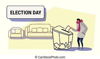 boîte, croquis, électeur, caractère, concept, liste, désinvolte, papier, longueur, entiers, mettre, élection, griffonnage, pendant, horizontal, vote, vote, jour, mâle, homme
