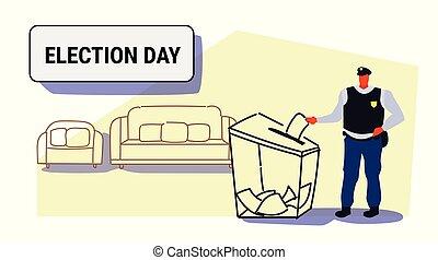 boîte, croquis, électeur, police, policier, griffonnage, concept, liste, uniforme, papier, longueur, entiers, mettre, élection, pendant, horizontal, vote, vote, jour, officier
