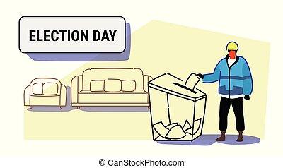 boîte, croquis, concept, entiers, ouvrier, construction, liste, uniforme, papier, longueur, électeur, mettre, élection, griffonnage, pendant, horizontal, vote, vote, jour, homme