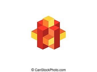 boîte, cube, géométrie, résumé, vecteur, logo, 3d
