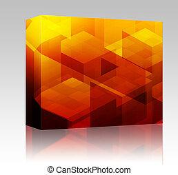 boîte, cubique, blocs, paquet