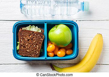 boîte, déjeuner, image, encas, fitness