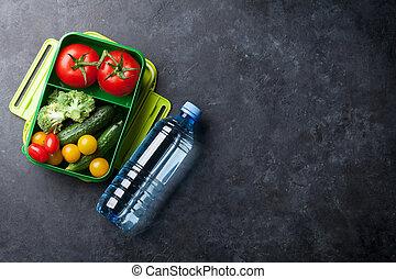 boîte, déjeuner, légumes