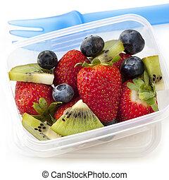 boîte déjeuner, salade, fruit