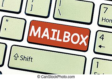 boîte, délivré, business, photo, projection, écriture, conceptuel, informatique, main, fichier, showcasing, courrier, poste, monté, où, email, mailbox.