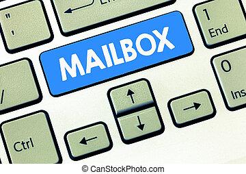 boîte, délivré, business, photo, projection, écriture, informatique, main, fichier, texte, conceptuel, courrier, poste, monté, où, email, mailbox.