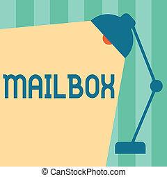 boîte, délivré, concept, mot, business, texte, écriture, informatique, fichier, courrier, poste, monté, où, email, mailbox.