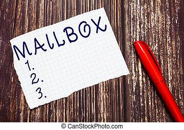 boîte, délivré, texte, projection, signe, informatique, fichier, photo, conceptuel, courrier, poste, monté, où, email, mailbox.