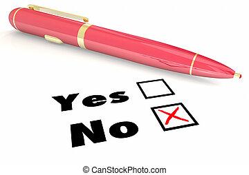 boîte, démenti, rejet, non, négatif, illustration, stylo, vs, réponse, oui, chèque, 3d
