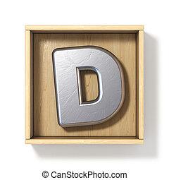 boîte, d, bois, métal, lettre, argent, 3d
