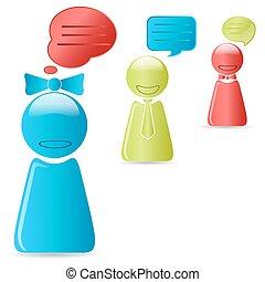 boîte de dialogue, à, humain, icônes