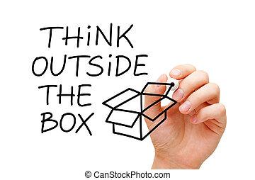 boîte, dehors, concept, penser