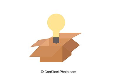 boîte, dehors, idée, penser