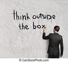 boîte, dehors, penser