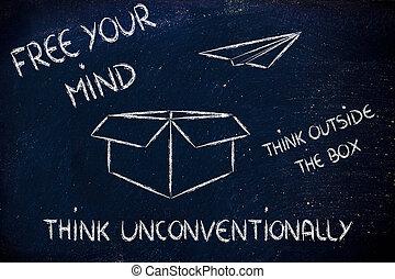 boîte, dehors, vision:, business, penser