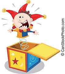 boîte, dessin animé, cric