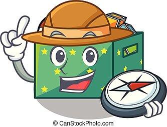 boîte, dessin animé, gosses, explorateur, jouets