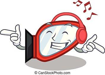 boîte, dessin animé, musique écouter, miroir, côté