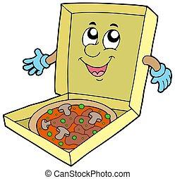 boîte, dessin animé, pizza