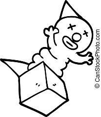 boîte, dessin ligne, dessin animé, cric