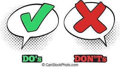 boîte, dialogue, ok, dont, non, marque, signe., croix, illustration, comiques, vecteur, nuage, signes, comique, chèque, rouges