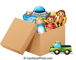 boîte, différent, entiers, jouets