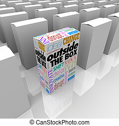 boîte, différent, paquet, solution, dehors, problème, unique
