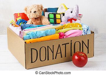 boîte, différent, vêtements, -, toys., donations, papeterie