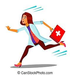 boîte, docteur femme, isolé, illustration, courant, vector., aide, ambulance, dessin animé, premier