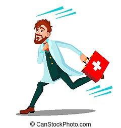 boîte, docteur, isolé, illustration, courant, vector., aide, homme, ambulance, dessin animé, premier