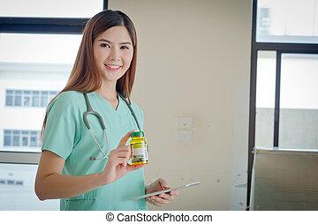 boîte, docteur, main., business., jeune, healthcare, pilules