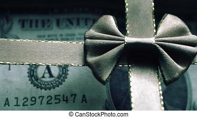boîte, dollar, cadeau