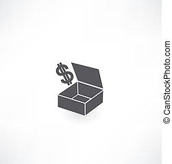 boîte, dollar, icône