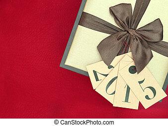 boîte, don étiquette, isolé, fond, année, 2015, nouveau, rouges