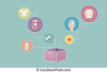 boîte, donation, icônes