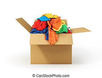 boîte, donation., isolé, arrière-plan., blanc, carton, vêtements