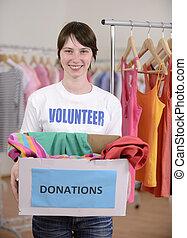 boîte, donation, volontaire, vêtements