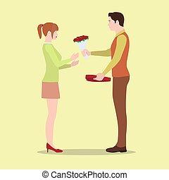 boîte, donne, sien, chocolates., petite amie, fleurs, homme