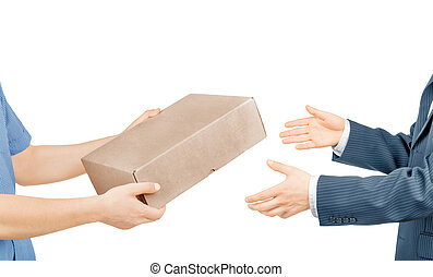 boîte, donner, isolé, fond, mains, courrier, blanc
