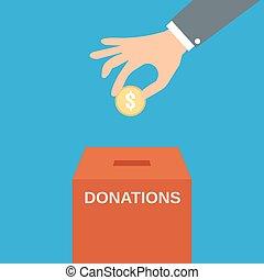 boîte, donner, mettre, monnaie, main